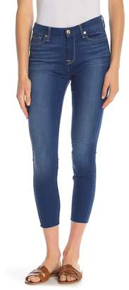 7 For All Mankind High Waisted Raw Hem Skinny Jeans