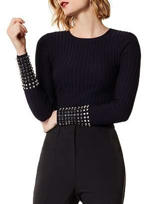 Karen Millen Embellished-Cuff Rib-Knit Sweater