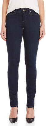Paige Dark Blue Mid-Rise Skinny Jeans