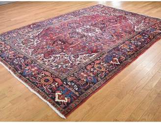 "World Menagerie One-of-a-Kind Franz Semi Antique Flower Good Condition Tribal Oriental Hand-Knotted 7'7"" x 11' Wool Red Area Rug World Menagerie"