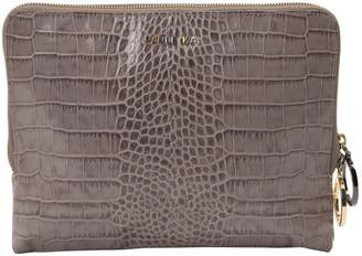 Paule Ka Grey Leather Clutch Bag