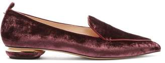 Nicholas Kirkwood Beya Crushed Velvet Loafers - Womens - Burgundy