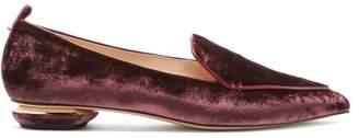 Nicholas Kirkwood - Beya Crushed Velvet Loafers - Womens - Burgundy