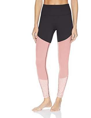"Core 10 Women's Size Tri-Color Yoga Full-Length Legging - 28"" Teal Heather/Ballet Pink Plus"