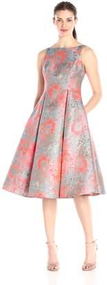 Adrianna Papell Women's Midi Sleeveless Jacquard Party Dress, Pink/Multi