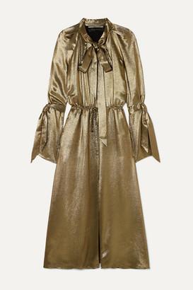 Roland Mouret Brandon Pussy-bow Silk-blend Lame Midi Dress - Gold