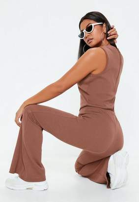 Missguided Mocha Brown Ribbed Flare Sleeveless Romper