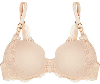 Stella McCartney Smooth & Lace Stretch-crepe And Lace Contour Plunge T-shirt Bra - Beige