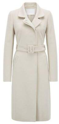 BOSS Hugo Belted coat in Italian virgin wool adaptable collar 10 Light Beige