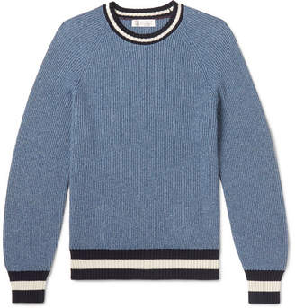 Brunello Cucinelli Contrast-Trimmed Mélange Cotton-Blend Sweater