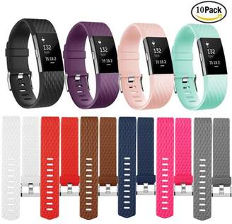 Fitbit iGK For Charge 2 Bands 10 PACK Adjustable Replacement TPU Wristband Band for Charge 2 (Large)