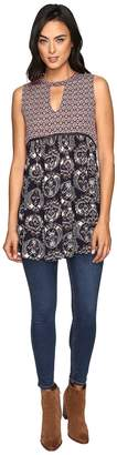Brigitte Bailey Tisa Contrast Print Sleeveless Tunic with Lace Inset Women's Dress