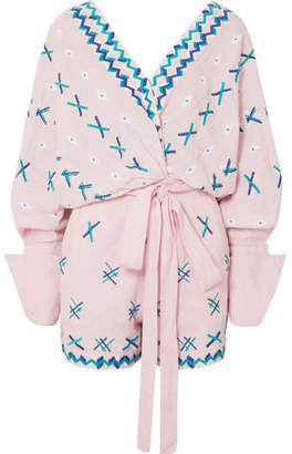 Magda All Things Mochi Embroidered Linen Playsuit - Pink