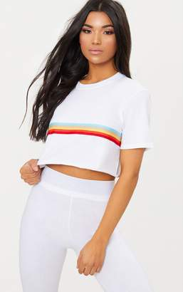 PrettyLittleThing White Rainbow Sporty Tape Crop T Shirt