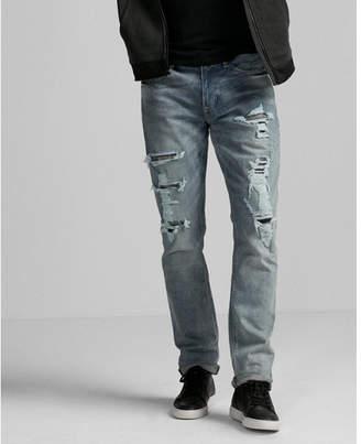 Express slim medium wash distressed stretch jeans