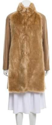 Giamba Wool Faux Fur-Trimmed Coat