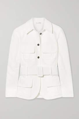 Oscar de la Renta Belted Cotton-cloqué Jacket - White