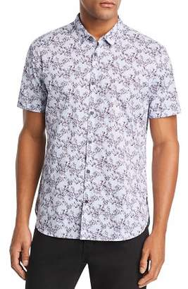 John Varvatos Floral-Print Short-Sleeve Regular Fit Shirt