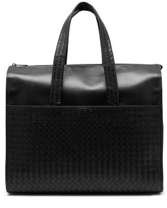 Bottega Veneta Intrecciato Leather Holdall - Mens - Black