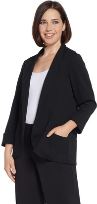 Halston H By H by Knit Crepe 3/4-Sleeve Open Front Jacket