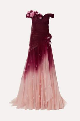 Marchesa Off-the-shoulder Appliquéd Ombré Tulle Gown - Merlot