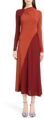 Victoria Beckham Bicolor Asymmetrical Jersey Midi Dress