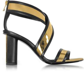 Balmain Aska Black and Gold Metallic Leather Heel Sandal