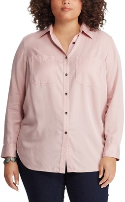 Chaps Plus Size Button Front Chambray Top