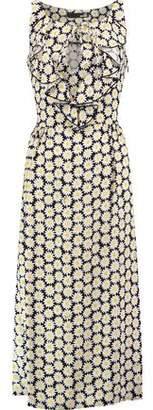 Love Moschino Margherite Ruffled Floral-Print Crepe Midi Dress