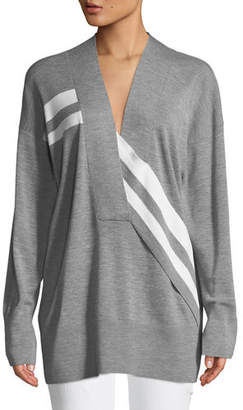 Rag & Bone Grace V-Neck Long-Sleeve Wool with Stripes