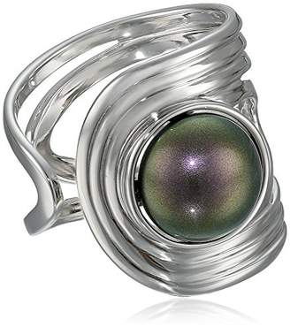 Majorica 10mm Tahitian Mabe Pearl Sterling Silver Cuff Ring