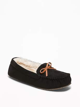 Old Navy Faux-Suede Sherpa-Lined Moccasin Slippers for Women