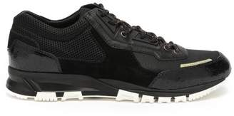Lanvin Mesh Cross Suede And Leather Trainers - Mens - Black