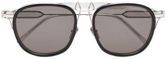 Calvin Klein black metal rounded navigator sunglasses