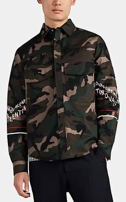 Valentino Men's Logo Camouflage Cotton Fatigue Jacket - Olive