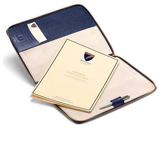 Aspinal of London Executive A4 Zipped Padfolio In Midnight Blue Lizard Cream Suede