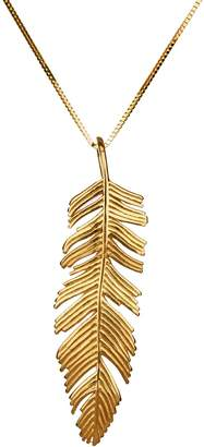 ADI Paz Feather Pendant with Chain, 14K Gold