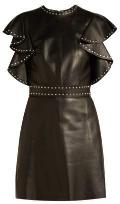 Alexander McQueen Studded Sleeve Leather Mini Dress - Womens - Black