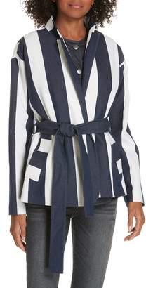 Lewit Stripe Tie Waist Blazer with Vest Insert