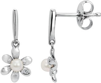 Little Diva Diamonds Sterling Silver Diamond Accent & Simulated Pearl Flower Drop Earrings