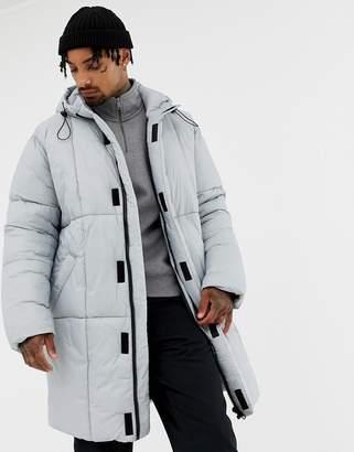 Asos DESIGN oversized puffer jacket in gray