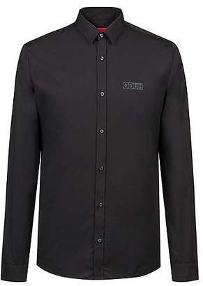 HUGO BOSS Extra-slim-fit cotton shirt with reverse logo