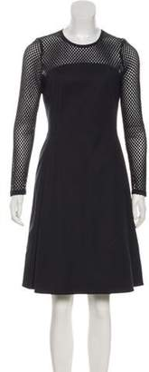 Akris Punto Long Sleeve Knee-Length Dress Navy Long Sleeve Knee-Length Dress