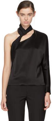 Lanvin Black Satin Single-Shoulder Blouse