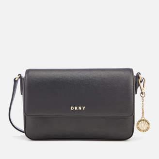 DKNY Women's Bryant Medium Sutton Textured Leather Flap Cross Body Bag - Black