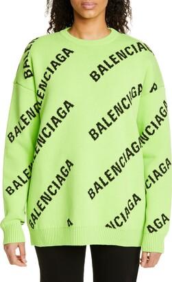 Balenciaga Logo Jacquard Cotton Blend Sweater