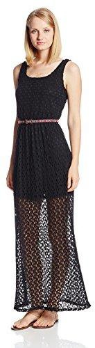 As U Wish Juniors Crochet Lattice Back Tank Dress
