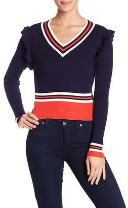 Fate Ruffle Trim Colorblock Sweater