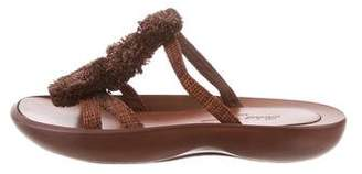 Robert Clergerie Clergerie Paris Embellished Raffia Slide Sandals
