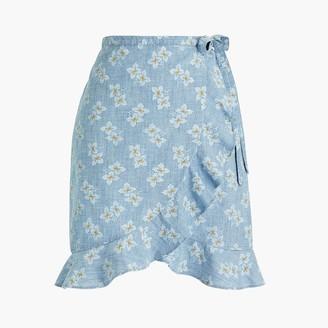 J.Crew Printed chambray faux-wrap mini skirt